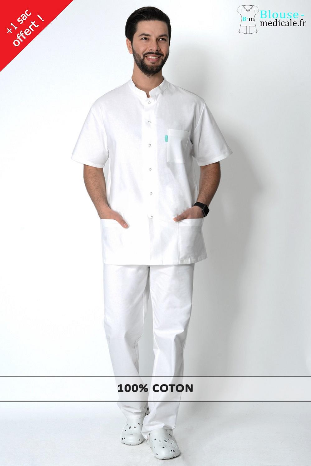 tenue médicale homme blanche pas cher tenue ostéo homme