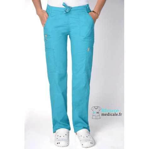 Pantalon Medical Femme Anti taches Bleu Lagon