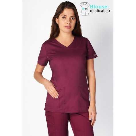 Tunique Medicale Cherokee Femme Bordeaux 4727