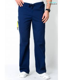 Pantalon Médical Homme Anti Taches Code Happy Bleu Marine 16001AB