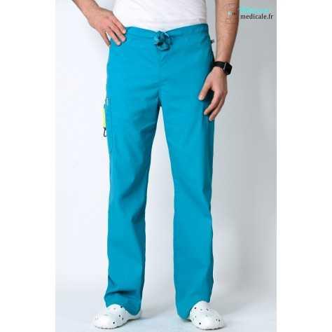 Pantalon Médical Homme Anti Tâches Code Happy Bleu Lagon 16001AB