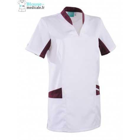 Tunique Medicale Lafont Clemix 2.0 Femme LAURA Blanc Prune