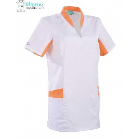 Tunique Medicale Lafont Clemix 2.0 Femme LAURA Blanc Abricot
