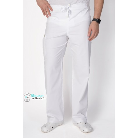 Pantalon Médical Homme Anti Tâches Code Happy Blanc 16001AB