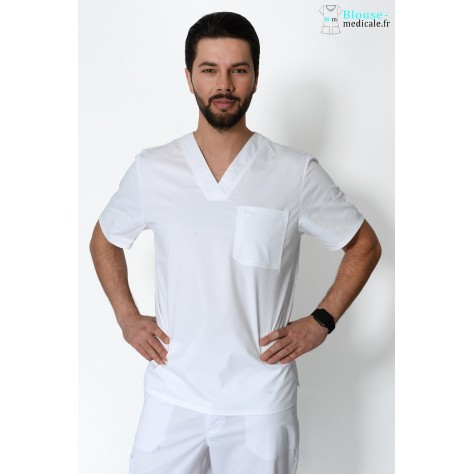 Tunique Medicale Cherokee Homme Blanc 4743
