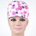 Calot Chirurgien Blanc avec fleurs multicolores