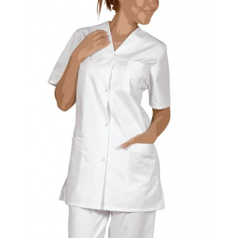 Blouse Medicale Femme à Pressions Viviane Blanc