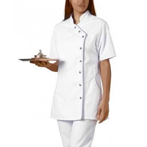 Blouse Medicale Asymétrique Femme Odile Blanc Gris