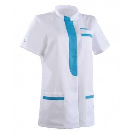 Tunique Medicale Lafont Clemix 2.0 Femme KIM Blanc Turquoise
