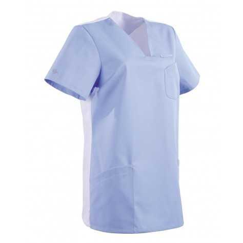 Tunique Medicale Lafont Clemix 2.0 Femme MAITHE Bleu Ciel Blanc