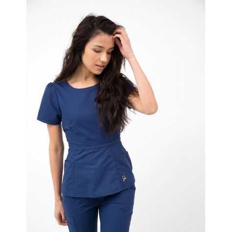 1004ba24e25d8 Blouse médicale peplum femme couleur bleu marine tunique medicale bleu