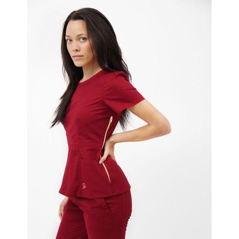 98b9d5cf9451d Blouse médicale peplum femme couleur bordeaux tunique medicale femme