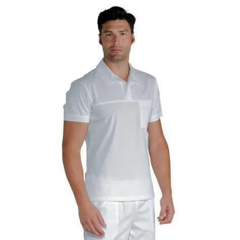 Polo Médical Stretch Manches Courtes Unisexe Blanc Miami