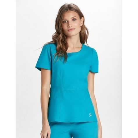 c2082a5f09b9b Blouse médicale peplum femme couleur bleu turquoise tunique medicale