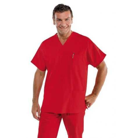 Casaque Médicale Unisexe Col V Rouge