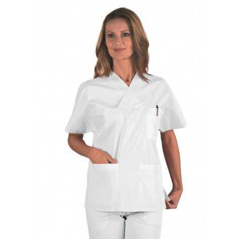 Casaque Médicale Unisexe Col V Polycoton Blanc