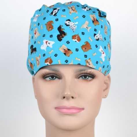 Calot Chirurgien Turquoise avec Chiens