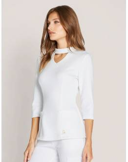 "Tunique Jaanuu ""Mock Neck Top"" Blanc Collection Ponte"