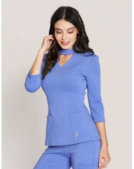 "Tunique Jaanuu ""Mock Neck Top"" Bleu Ciel Collection Ponte"