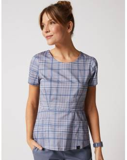 "Tunique Jaanuu ""Peplum Top"" Imprimé Grey Plaid Collection Print"