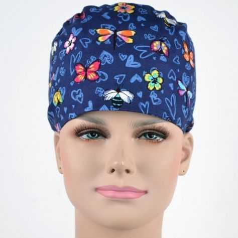 Calot Infirmière Bleu Marine motifs Papillons et Coeurs