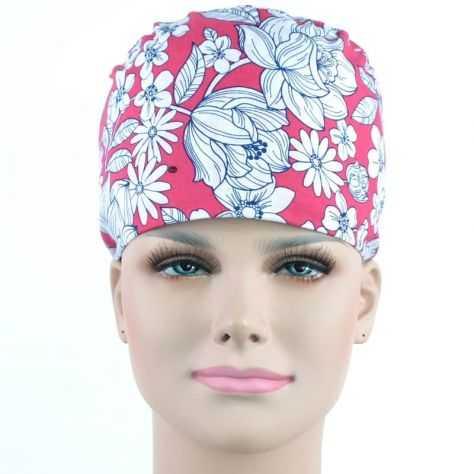 Calot Infirmière Fuchsia motifs Fleurs Blanches
