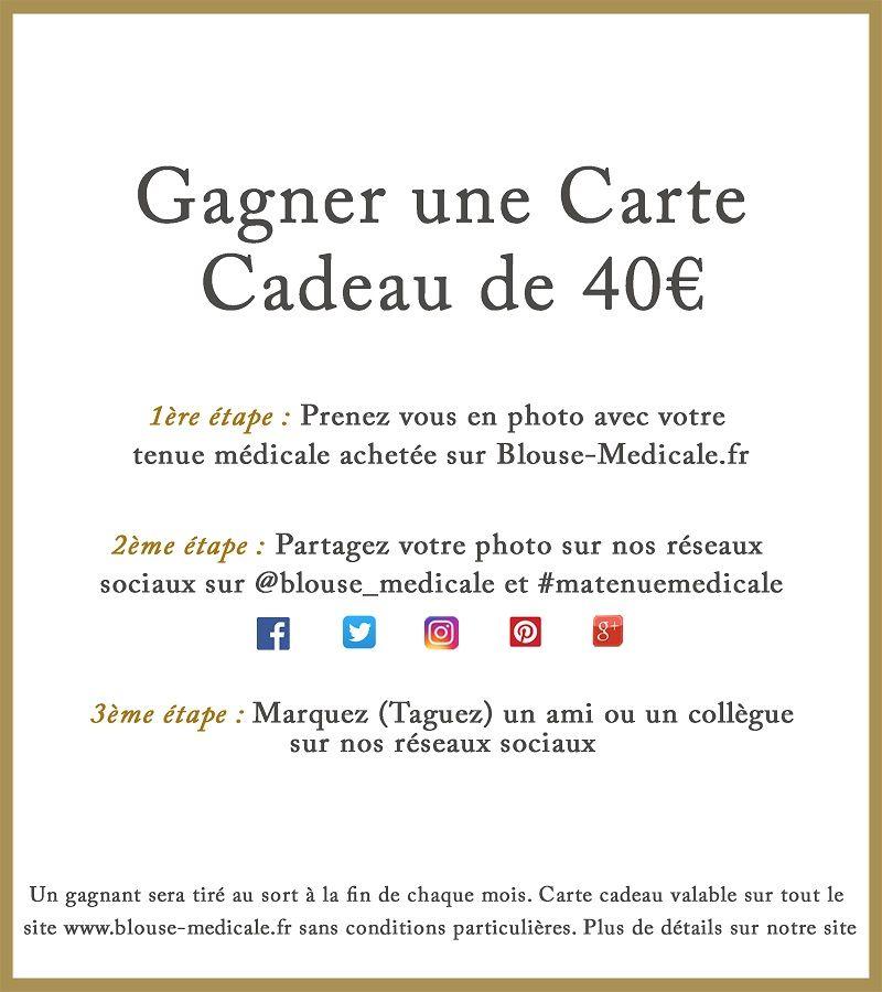 carte cadeau 40 euros d'achat vetement médicaux bon de réduction blouse medicale
