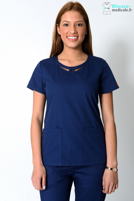 blouse medicale dickies femme 85810 bleu marine