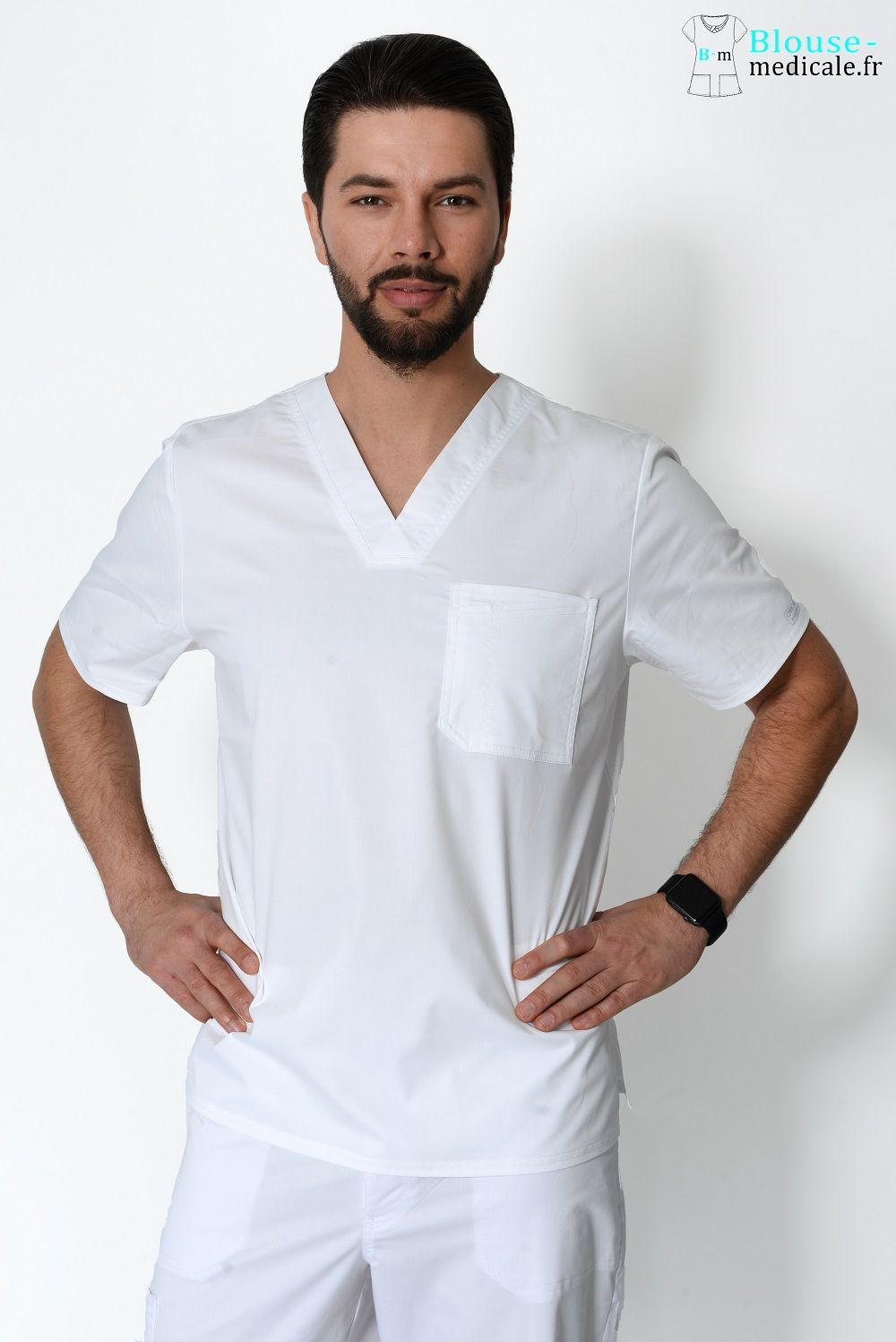 blouse medicale homme couleur cherokee blanc