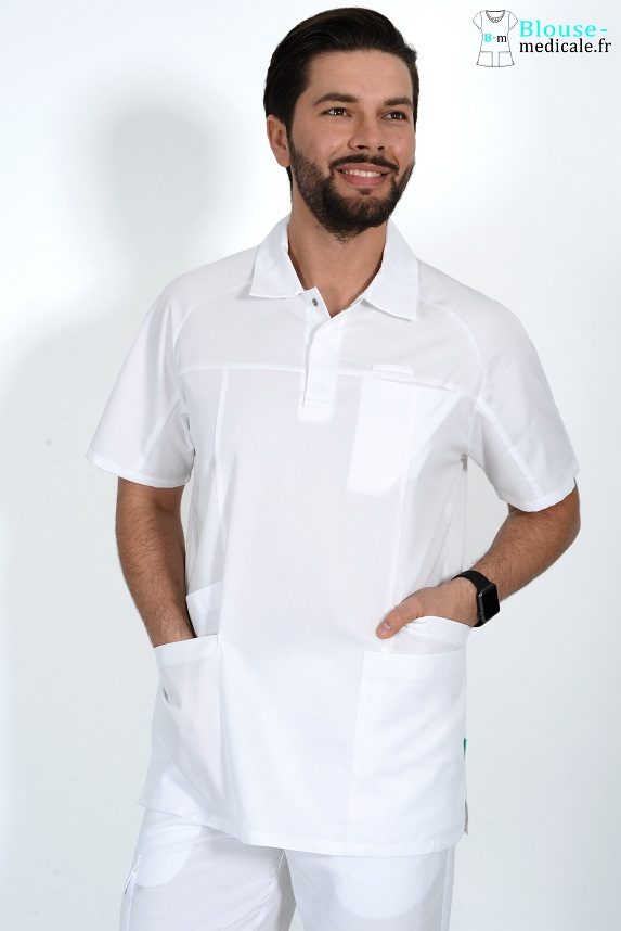 Tunique medicale homme luca blanc