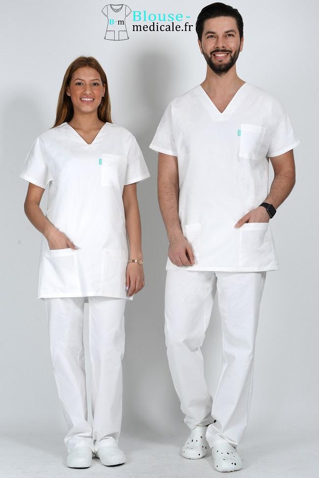 tenue médicale unisexe tenue equipe medicale blanche