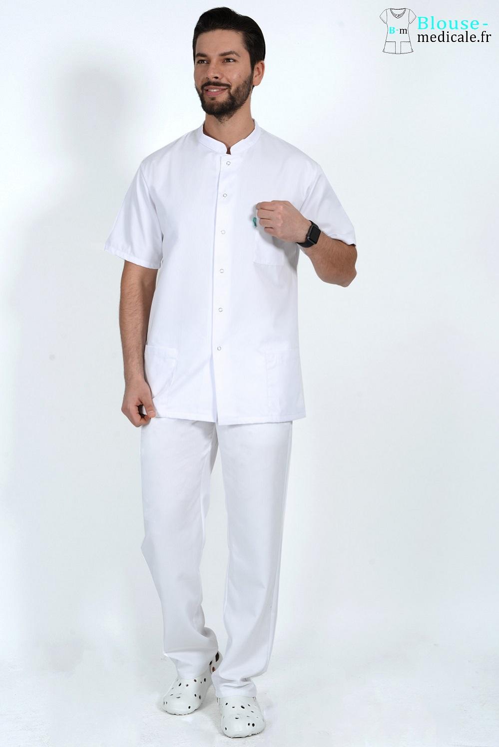 tenue medicale homme blanc pas cher pour ostéo kiné dentiste
